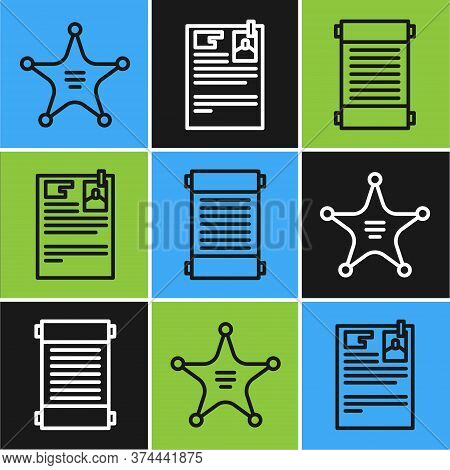 Set Line Hexagram Sheriff, Decree, Paper, Parchment, Scroll And Lawsuit Paper Icon. Vector