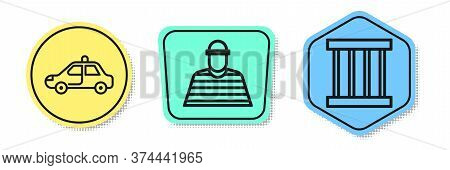 Set Line Police Car And Flasher, Prisoner And Prison Window. Colored Shapes. Vector
