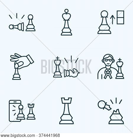 Hobby Icons Line Style Set With Hand With Bishop, Pawn Beats Pawn, Chess Rook Strategy Elements. Iso