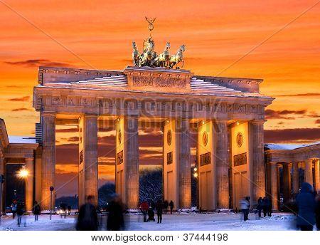 Berlin Brandenburger Tor Winter Sunset