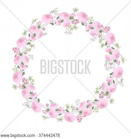 Detailed contour wreath with ranunculus, herbs and stylized flowers isolated on white. Round frame for your design, greeting cards, wedding announcements, posters.