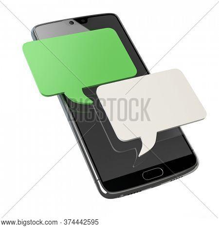 Mobile phone chat message notifications. Smartphone messenger bubble. 3d illustration