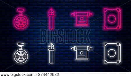 Set Line Magic Staff, Magic Scroll, Unicycle Or One Wheel Bicycle And Ancient Magic Book. Glowing Ne