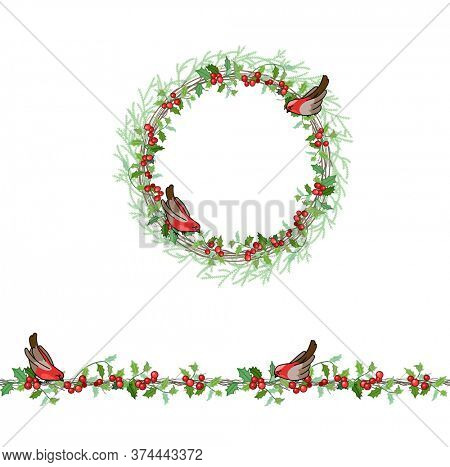Christmas template with bullfinches and red beries. Round frame with fir branches
