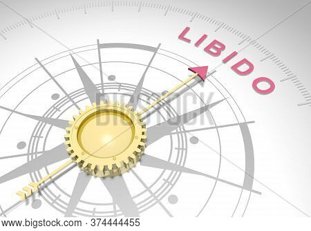 Abstract Compass Points To The Libido Word. 3d Rendering