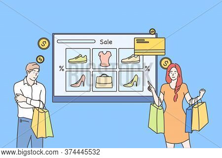 Technology, Shopping, Sale Concept. Young Man And Woman Customers Cartoon Characters Buyers Hold Bag