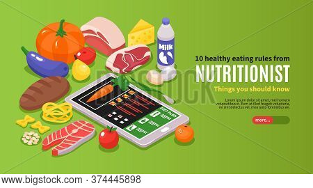 Isometric Dietician Nutritionist Horizontal Banner With Editable Text And Images Of Ripe Food With G