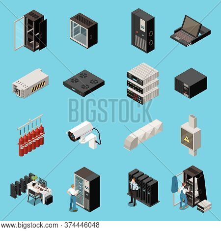 Datacenter Isometric And Colored Icon Set With Different Servers And It Equipment Vector Illustratio