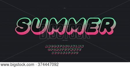 Vector Summer Font 3d Bold Gradient Color Style Modern Typography For Decoration, Logo, Poster, T Sh