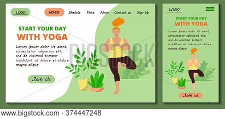 Web Page And App Mobile Design Template For Online Yoga And Meditation Classes.  Redhead Body Positi