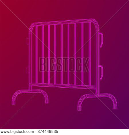 Police Riot Fence. Wireframe Low Poly Mesh Vector Illustration.