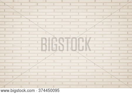 Background Of Wide Cream Brick Wall Texture. Old Brown Brick Wall Concrete Or Stone Wall Textured, W