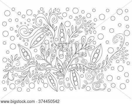 Coloring Book For Children And Adults For Anti Stress. Gray And White Contour Drawing, Vector Graphi