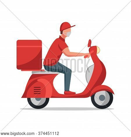 Food Delivery Man Riding A Red Scooter, Isolated On White. Flat Vector Illustration. Online Delivery