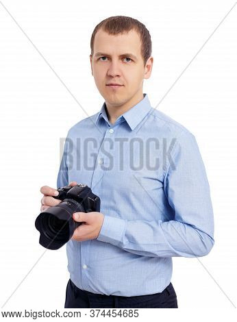 Portrait Of Male Photographer Or Videographer With Modern Dslr Camera Isolated On White Background