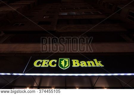 Bucharest, Romania - February 11, 2020: Cec Bank Logo In Front Of A Local Bank In Bucharest. Cec Ban