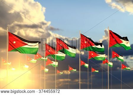 Beautiful Celebration Flag 3d Illustration  - Many Jordan Flags On Sunset Placed In Row With Selecti