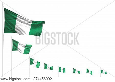 Nice Holiday Flag 3d Illustration  - Many Nigeria Flags Placed Diagonal Isolated On White With Place