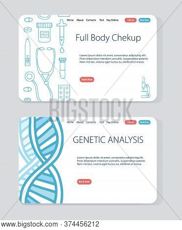Vector Website Templates For Telehealth And Telemedicine Projects. Full Body Checkup And Genetic Ana