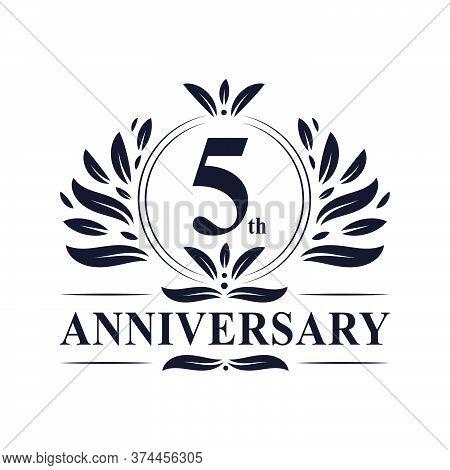 5th Anniversary Celebration, Luxurious 5 Years Anniversary Logo Design.