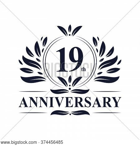 19th Anniversary Celebration, Luxurious 19 Years Anniversary Logo Design.