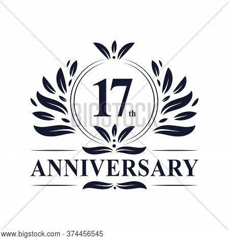 17th Anniversary Celebration, Luxurious 17 Years Anniversary Logo Design.