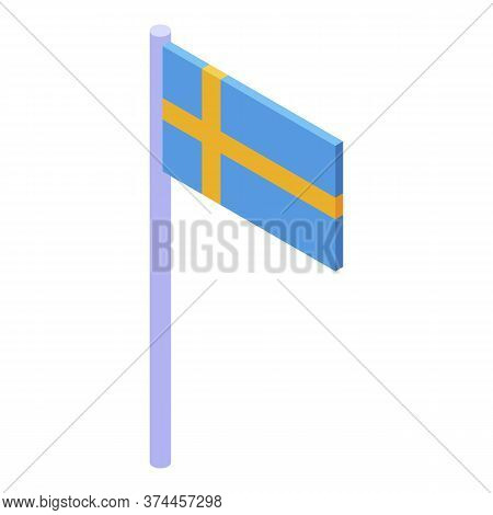 Sweden Flag Icon. Isometric Of Sweden Flag Vector Icon For Web Design Isolated On White Background