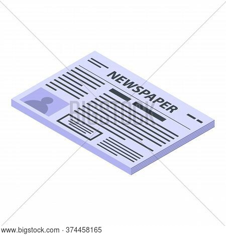 Newspaper Icon. Isometric Of Newspaper Vector Icon For Web Design Isolated On White Background