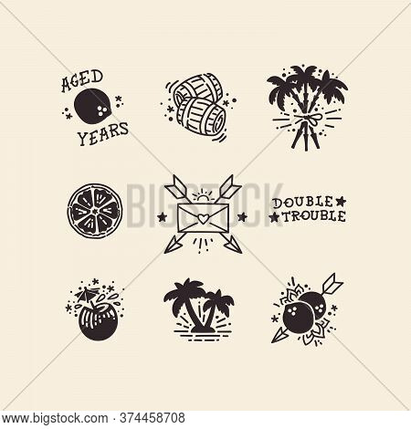 A Sheet With Flash Tattoos Or Icons Done In Authentic Old School Technique, Featuring Caribbean Vibe