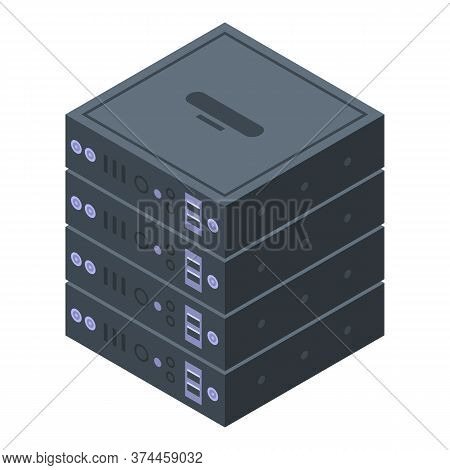 Server Rack Storage Icon. Isometric Of Server Rack Storage Vector Icon For Web Design Isolated On Wh