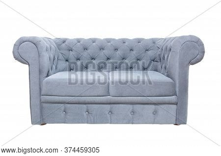 Old Fashioned Vintage Grey Or Blue Fabric Sofa Isolated On White Background, Front View. Modern Couc
