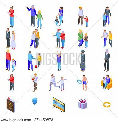 Family Moments Icons Set. Isometric Set Of Family Moments Vector Icons For Web Design Isolated On Wh