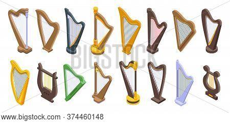 Harp Icons Set. Isometric Set Of Harp Vector Icons For Web Design Isolated On White Background