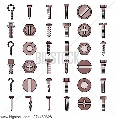 Screw-bolt Icons Set. Outline Set Of Screw-bolt Vector Icons Thin Line Color Flat On White