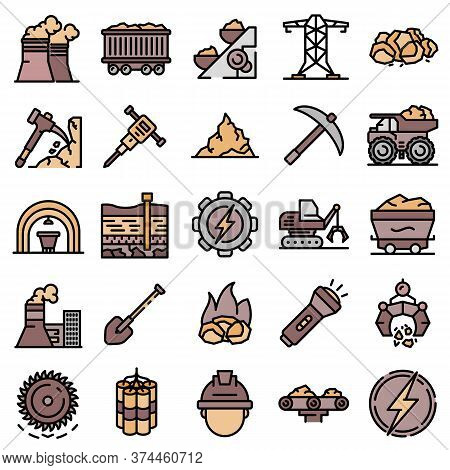 Coal Industry Icons Set. Outline Set Of Coal Industry Vector Icons Thin Line Color Flat On White