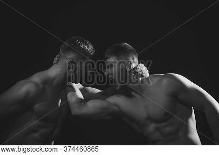 Men Competitors Try To Win Victory Or Revenge. Revenge In Sport. Strength Skills.