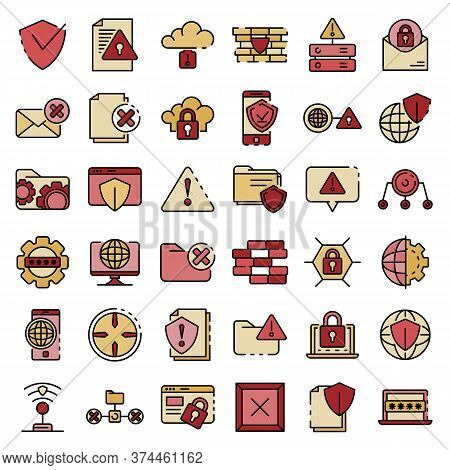 Firewall Icons Set. Outline Set Of Firewall Vector Icons Thin Line Color Flat On White