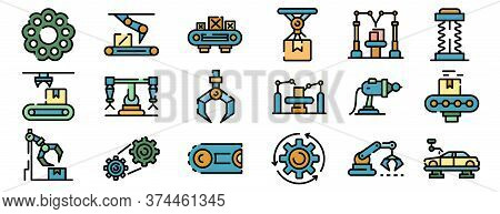 Assembly Line Icons Set. Outline Set Of Assembly Line Vector Icons Thin Line Color Flat On White