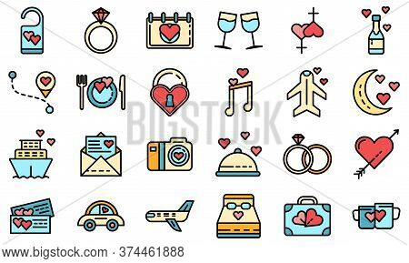 Honeymoon Icons Set. Outline Set Of Honeymoon Vector Icons Thin Line Color Flat On White