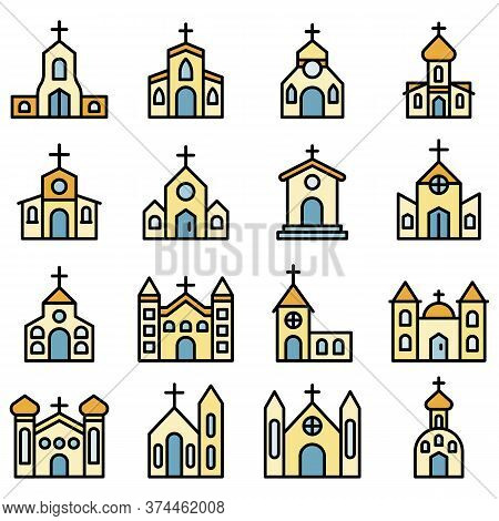 Church Icons Set. Outline Set Of Church Vector Icons Thin Line Color Flat On White