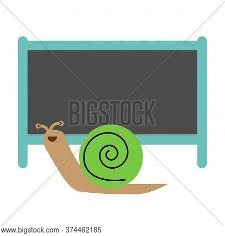 Snail And Blank Board On White Background. Cute Snail.
