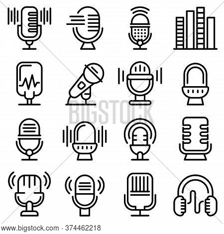 Podcast Icons Set. Outline Set Of Podcast Vector Icons For Web Design Isolated On White Background