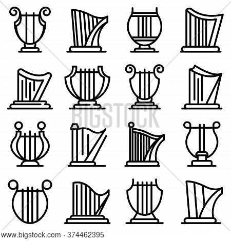 Harp Icons Set. Outline Set Of Harp Vector Icons For Web Design Isolated On White Background