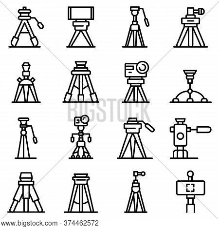 Tripod Icons Set. Outline Set Of Tripod Vector Icons For Web Design Isolated On White Background