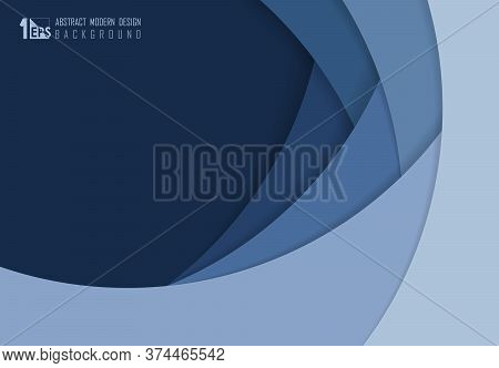 Abstract Blue Paper Cut Overlap Design Of Template Artwork Background. Decorate For Ad, Poster, Artw