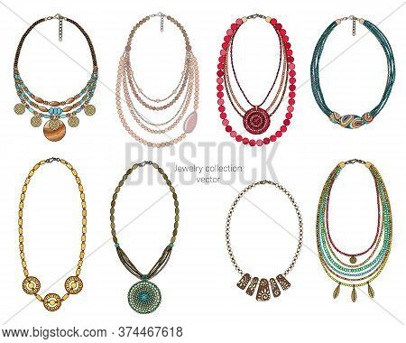 Jewelry Collection Of Necklaces. Isolated On A White Background. Vector