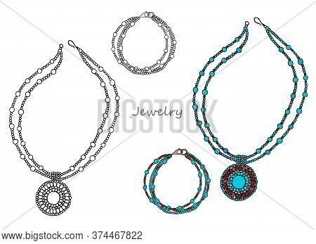 Ethnic Women's Jewelry Made Of Blue Beads, Necklace And Bracelet. Hand-drawn. Vector