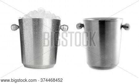 Empty And Full Of Ice Cubes Metal Buckets On White Background