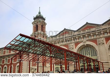 New York, Usa - April 30, 2019: Main Entrance To The Immigration Museum At Ellis Island In Upper New