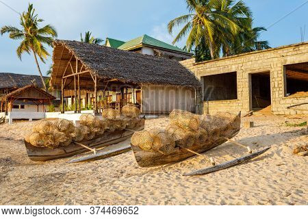 Traditional Malagasy Bamboo Woven Crustacean Fishing Trap On Beach In Nosy Be. Madagascar Countrysid